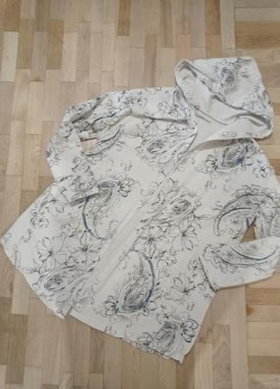 Хлопковая кофта-накидка с капюшоном, цвет бежевый, размер 52-56
