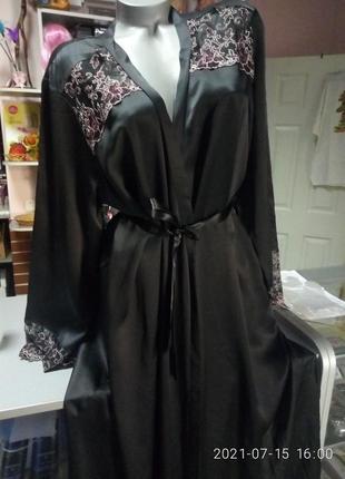 Шелковый пеньюар шелковый халат большого размера