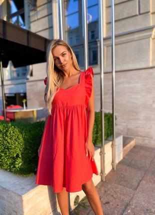 Платье летнее женское свободное легкое оверсайз красное голубое розовое