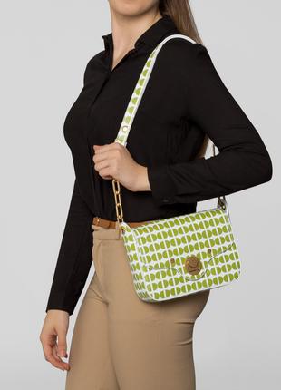 Новая сумка coccinelle 100% кожа белая в зелёный принт оригинал