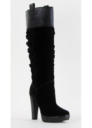 Bcbg max azria  черные замшевые новые сапоги с usa сапоги до колен chloe