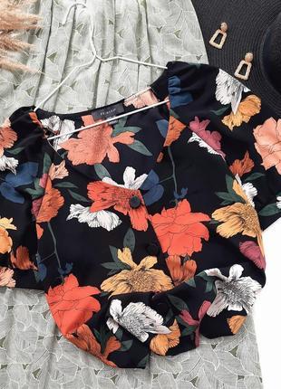 Блузка в цветочный принт на пуговицах primark