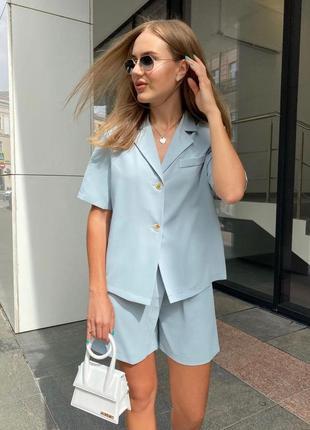 Летний прогулочный костюм шорты-юбка и рубашка короткий рукав фри