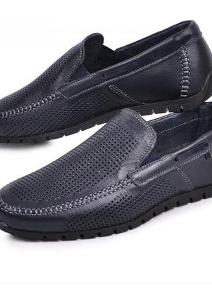 Мокасины, туфли мужские, синие