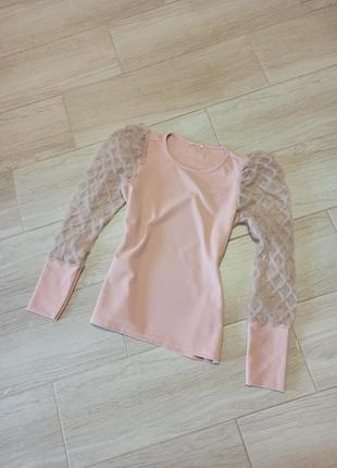 Блуза, кофта, батник пудрового цвета