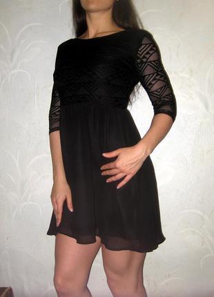 Платье h&m чёрное гипюровое ажурное четвертной рукав