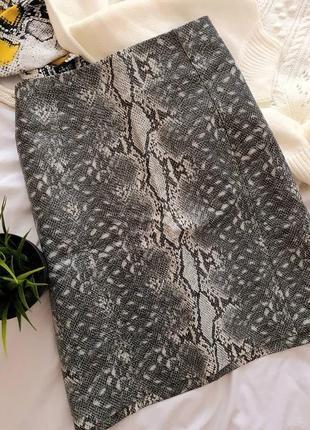 🖤 юбка эко кожа с анималистичным принтом от new look