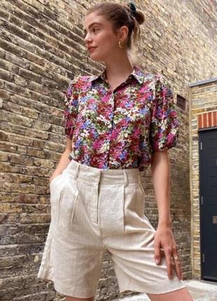 🔝льняные шорты бермуды винтажные шорты на высокой талии