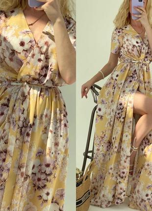 Платье летнее женское нарядное длинное в пол легкое цветочное с разрезом
