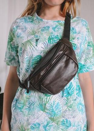 Кожанная бананка натуральная кожа! слинг, сумка на пояс, коричневая сумочка шкіра б11