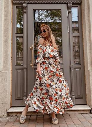 Платье белое софт цветочное
