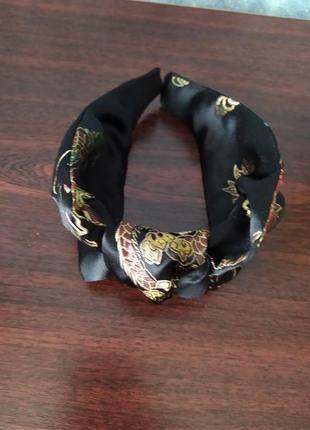 Модный шелковый обруч ободок с узлом ручная работа восточные мотивы
