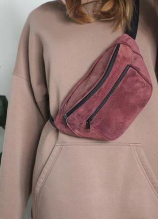 Кожанная бананка натуральная кожа! слинг, сумка на пояс, каштанова сумочка шкіра б17