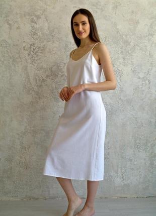 Белый сарафан с открытой спинкой из натурального льна, льняной летний сарафан