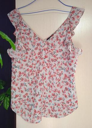 Романтичная летняя майка блузка с рюшами