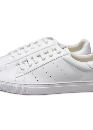 Кожаные белые кроссовки с перфорацией