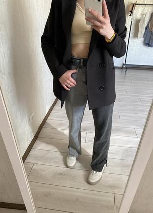 Двокольорні широкі джинси кльош з розрізом, джинсы клеш широкие високая посадка палацо палаццо