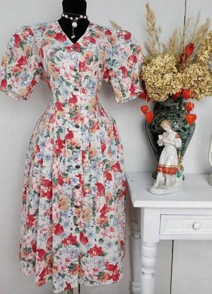 Платье. миди. в цветочный принт. на пуговицах. винтажное. винтаж. ретро. хлопковое. халат