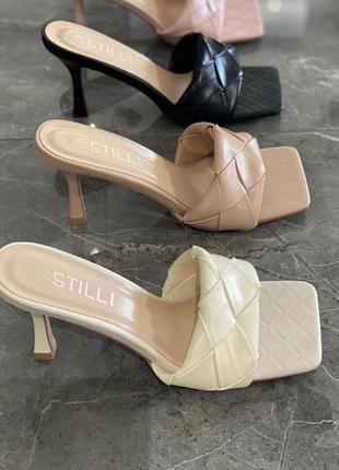 Мюли шлепанцы строчка  🌿 квадратный носок на каблуке устойчивом шпилька шлепки сандалии