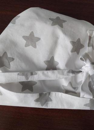 Модная натуральная бандана косынка платок шапочка из хлопка белая зефирка новинка!