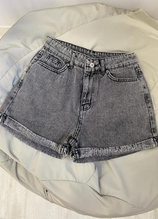 Шорты джинс серые