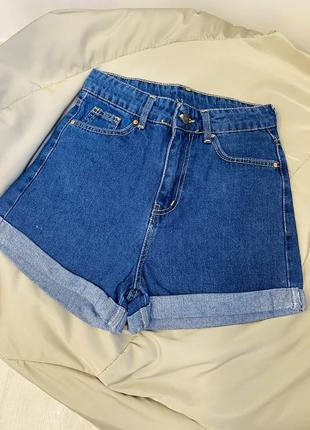 Шорты джинс синие