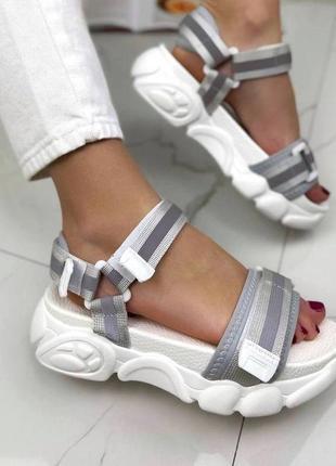 Спортивные босоножки 🍓 на липучках со светоотражающим еффектом сандалии платформа