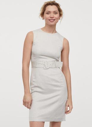 Платье с поясом из льна