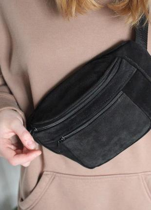 Кожанная бананка натуральная кожа! слинг, сумка на пояс, черная сумочка шкіра б45