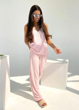 Костюм летний повседневный майка брюки блузка штаны комплект набор двойка широкие трубы с высокой талией прямые лёгкий