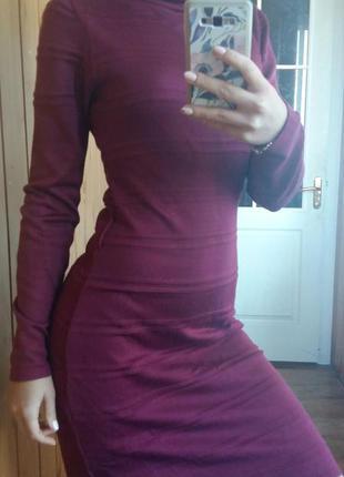 Супер платье ежевичного цвета