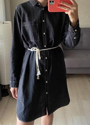 Льняное платье рубашка с контрастными строчками h&m
