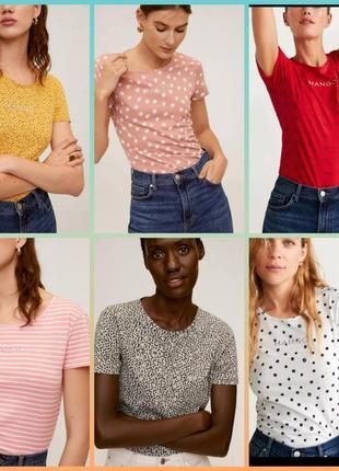 Футболка,футболка хлопок, хлопковая футболка, футболка манго базовая, в полоску, в горох, с логотипом