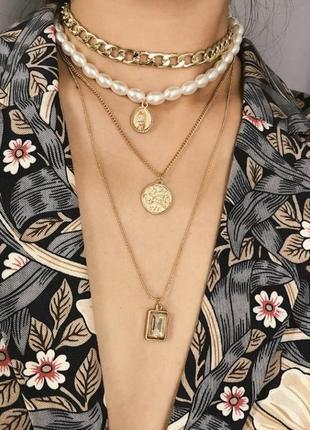 Цепь колье ожерелье 4 цепочки жемчуг амулет камень