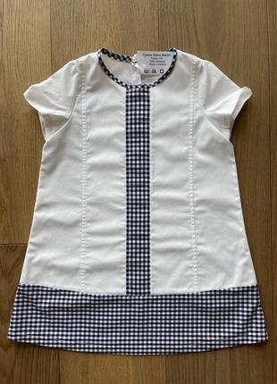 Платье сарафан @don.bacon на девочку 110 см бело-синее в клеточку