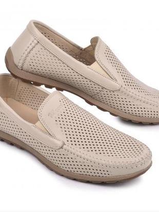 Мокасины, туфли мужские, натуральная кожа и нубук, бежевый