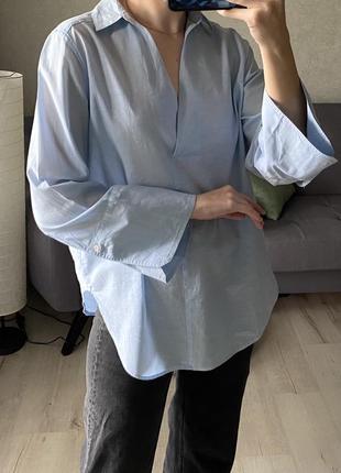 Легенькая натуральная рубашка с широкими рукавами h&m