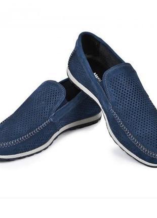 Мокасины, туфли мужские, натуральная кожа и нубук, цвет волна