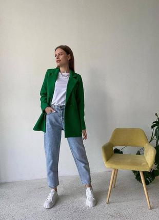 Женский пиджак однобортный свободного кроя цвет травка1 фото