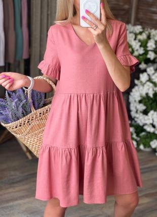 Яркое платье из льна цвета в магазине