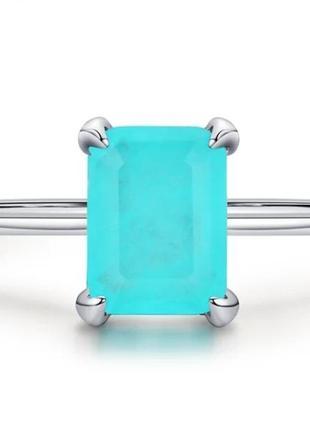 Кольцо перстень тонкое камень турмалин параиба 17р стерлинговое серебро