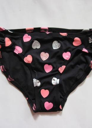 Новые черные плавки в розовые сердечки с принтом victoria's secret pink оригинал m черный купальник