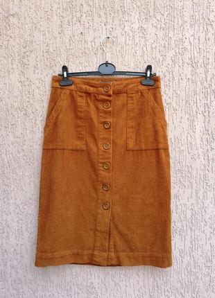 Котонова спідниця міді вельветовая юбка на пуговицах primark
