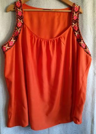 Женская летняя вышиванка. вискозная блузка ,блуза, майка, пляжная туникам с вышивкой.