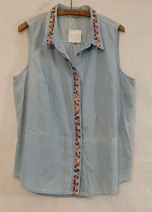 Хлопковая голубая рубашка вышивка блузка под джинс tu