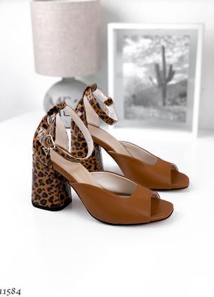 Босоножки =kf= caramel кожа (леопард) 36-40