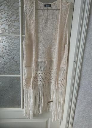 Очень красивая плетеная накидка с бахрамой пляжная туника ручной работы