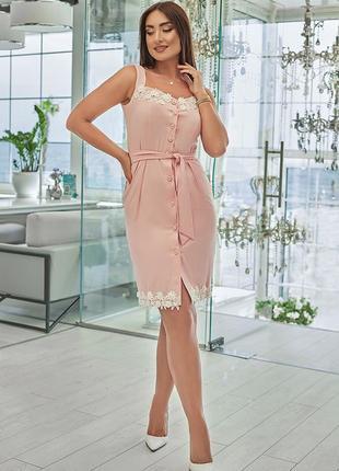 Платье летнее нарядное, сарафан с кружевом