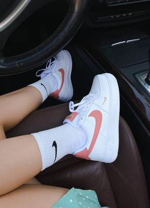 Шикарные женские кроссовки nike air force 1 mini swoosh наложка