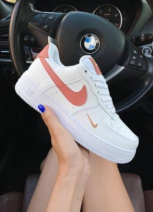 Nike air force 1 mini swoosh женские кроссовки найк в белом цвете